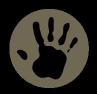 Earthship Overland handprint Logo with Dream - Explore - Discover slogan