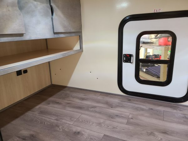Interior of an Adventure camping trailer at Earthship Overland at their showroom in Englewood, CO