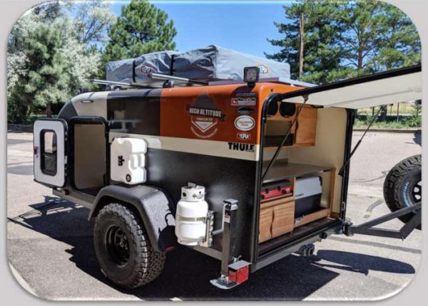 Outdoor exterior of a High Altitude adventure camping trailer from Earthship Overland in Englewood, CO